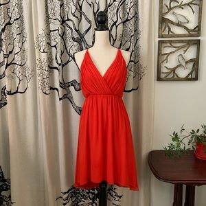 Alice + Olivia Red Silk Backless High Low Dress